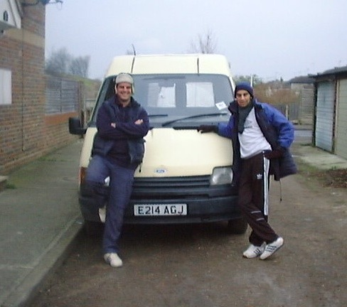Phil and Nash with their first van in 2000
