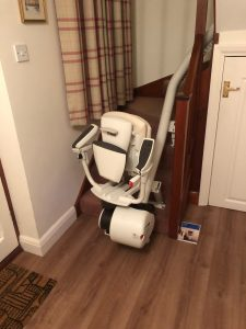 Curved stairlift installation Hall Maidstone Kent 2