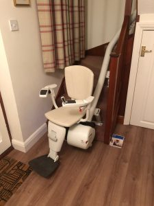 Curved stairlift installation Hall Maidstone Kent 3