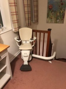 Curved stairlift installation Hall Maidstone Kent 4