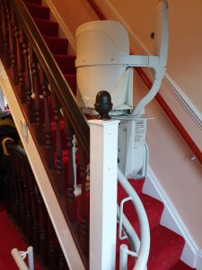 Curved stairlift installation Vokes Maidstone Kent 3