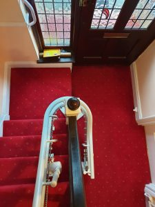 Curved stairlift installation Vokes Maidstone Kent 7