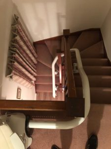 Curved stairlift installation Hall Maidstone Kent 1