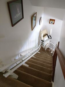 Curved stairlift installation Nicholson Maidstone Kent 2