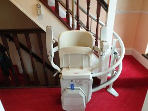 Curved stairlift installation Vokes Maidstone Kent 11