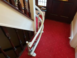 Curved stairlift installation Vokes Maidstone Kent 12