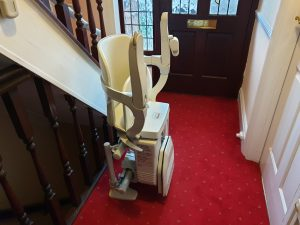Curved stairlift installation Vokes Maidstone Kent 8