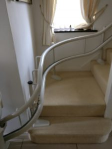 Curved stairlift installation Woodger Maidstone Kent 1