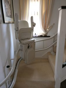 Curved stairlift installation Woodger Maidstone Kent 3