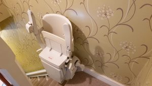 Stairlift-Folded-on-stairs Rochester-Kent-