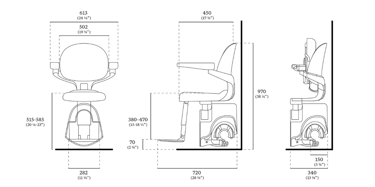 FLow X Stairlift Chair Dimensions
